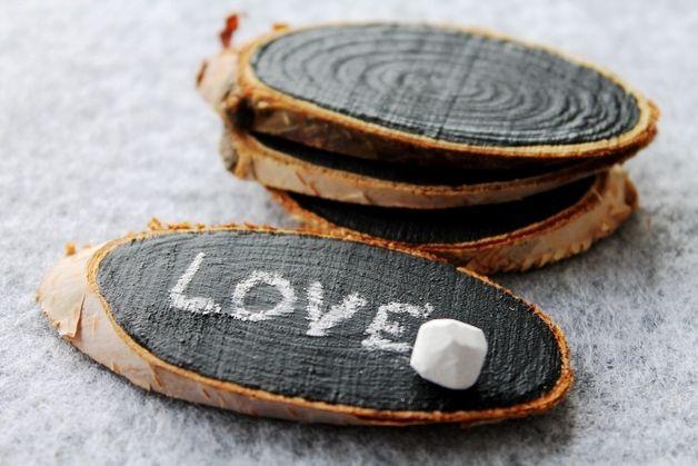 wood - tischkarten mit tafellack - holzschilder  - hout - krijtbord - love
