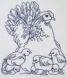 Vintage Mama Hen and Peeps for hand embroidery