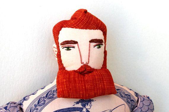 Copper Hair Tattoo Man doll with Beard Circus plush doll toile