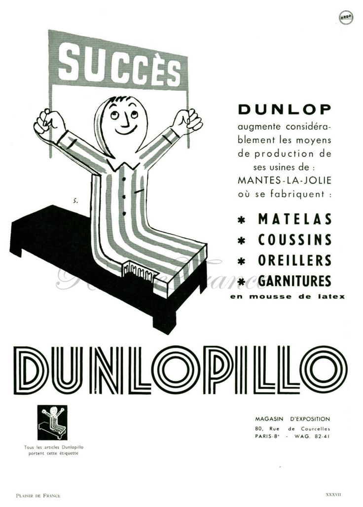 Original Vintage French Ad Dunlopillo 1954 Mattress by Savignac by reveriefrance on Etsy
