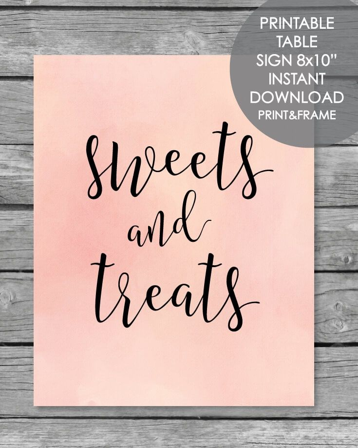 Printable Sweets And Treats Table Sign 8x10 Baby Shower Desserts
