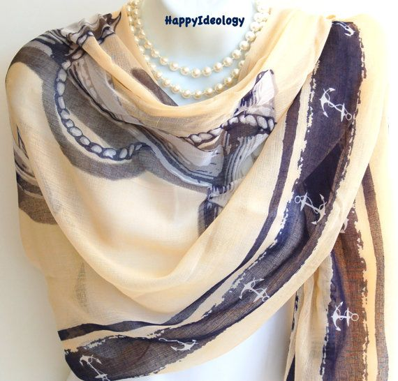 Anchor Print Long Scarf.BeigeBlue & White by HappyIdeology on Etsy