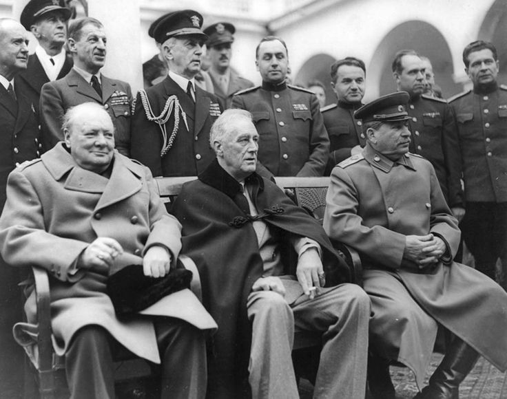 Winston Churchill, Franklin Roosevelt and Joseph Stalin at the Yalta Conference