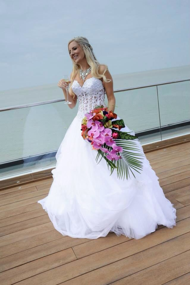 Tropical bouquet wedding by the sea