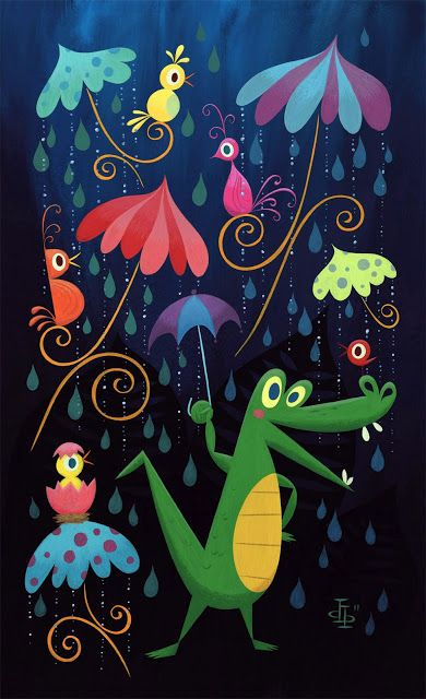 Mary Blair Illustration 'Rainforest'  I would love to have this somewhere unexpected, like the back of the closet.