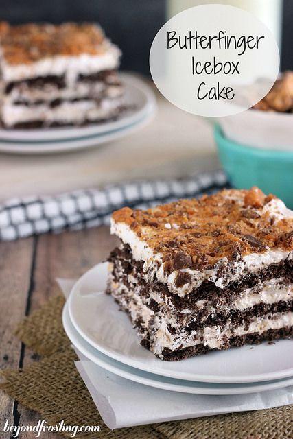 Butterfinger Icebox Cake   beyondfrosting.com   #butterfinger #iceboxcake