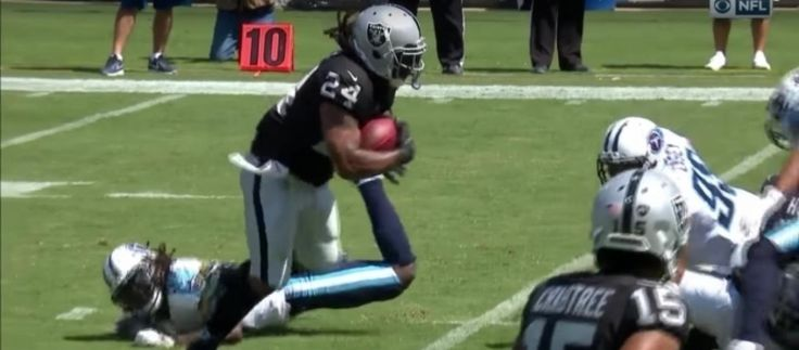 Running back Marshawn Lynch of the Oakland Raiders to have a tough game against a Broncos' impressive running defense.