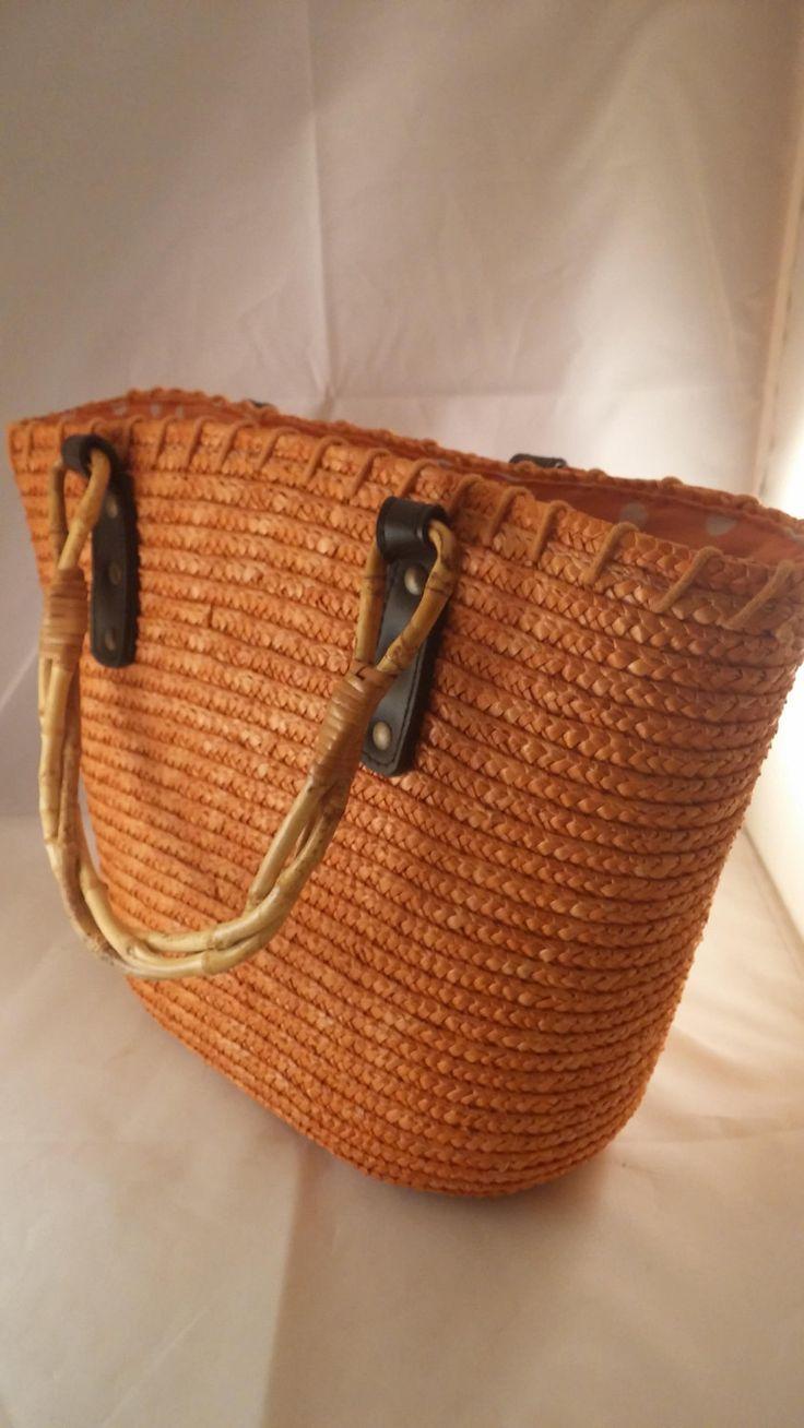 Purse, orange straw purse, Vintage straw purse, handbag, vintage straw purse, vintage straw handbag, beach purse, straw purse by FlowerChildTrends on Etsy