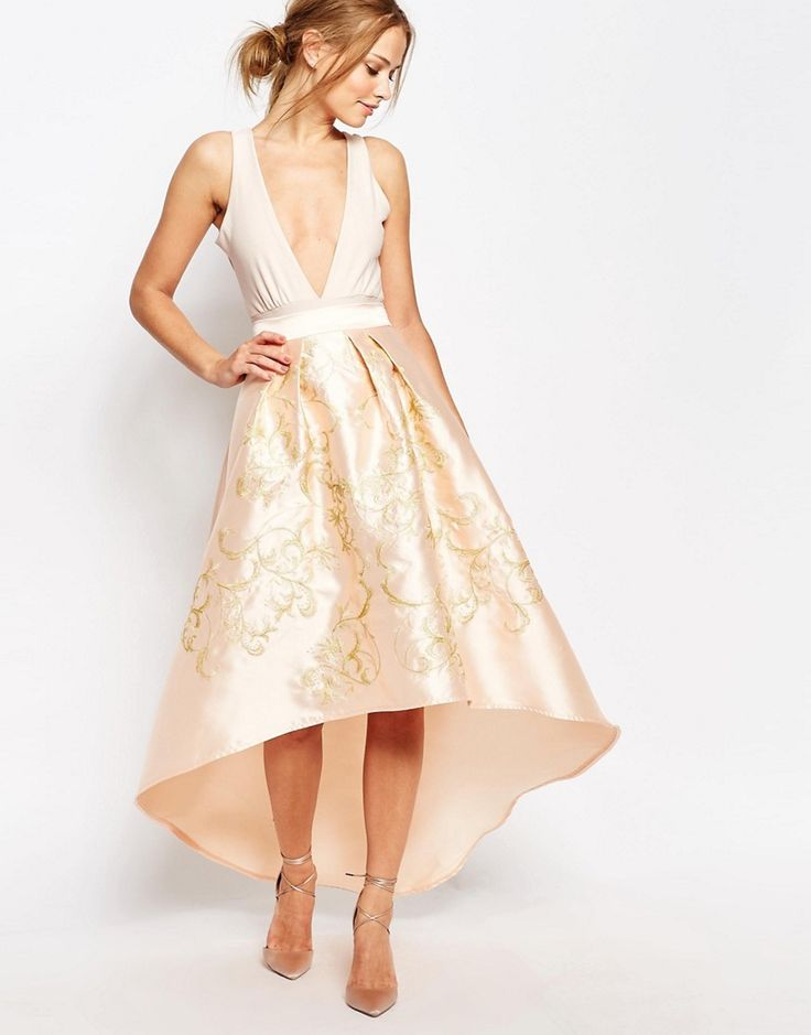Image 1 ofChi Chi London Premium Full Midi Skirt with Gold Embroidery