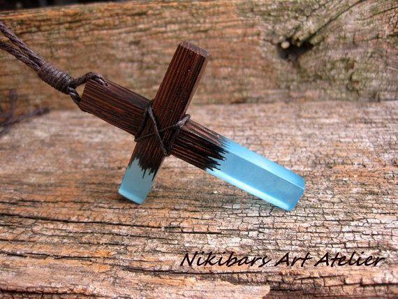 Cross Necklace Wenge Resin Cross by NikibarsNatureArt on Etsy