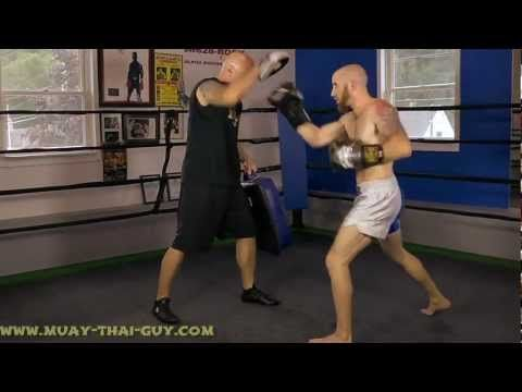 Muay Thai Drills - Punch Combinations w/ Low Kick Drill - Pad Work  From Sean Fagan The Muay Thai Guy