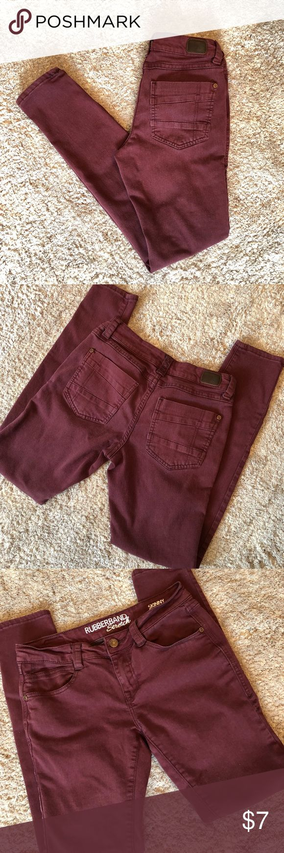 Maroon Skinny Jeans! Great maroon colored Rubberband Stretch skinny jeans! 27 inch waist, 29.5 inch inseam and 7.5 inch rise. NO trades. Bundle for additional discounts! Rubberband Stretch Jeans Skinny
