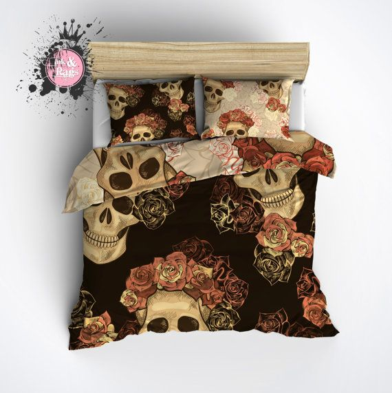 Reversible Featherweight Skull Bedding Sugar Skull Por Inkandrags Skull Bedroombedroom Decormaster