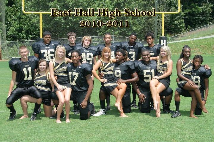 senior cheerleaders and football players