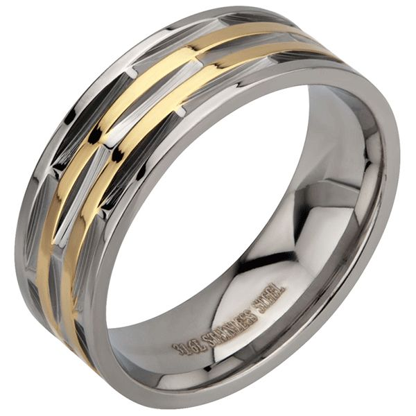 Stainless Steel 8 mm Band with Gold Ip detail. http://lily316.com.au/shop/collection/mens-ridge-cut-stainless-steel-and-gold-ip-ring/