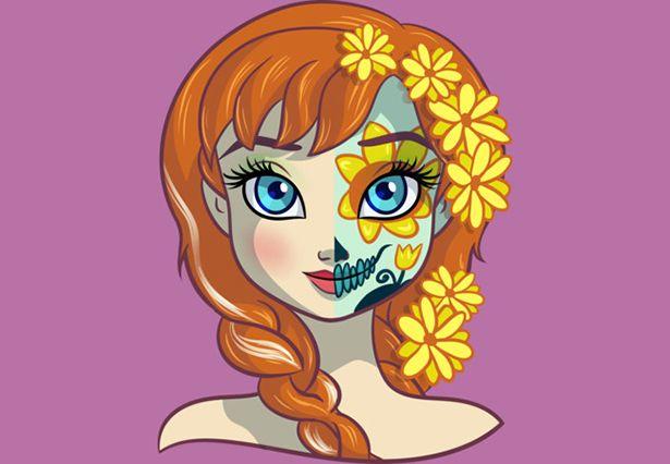 """13 princesas disney convertidas en """"Catrinas"""" para el día de muertos. ¡Jazmín es la mejor!"""