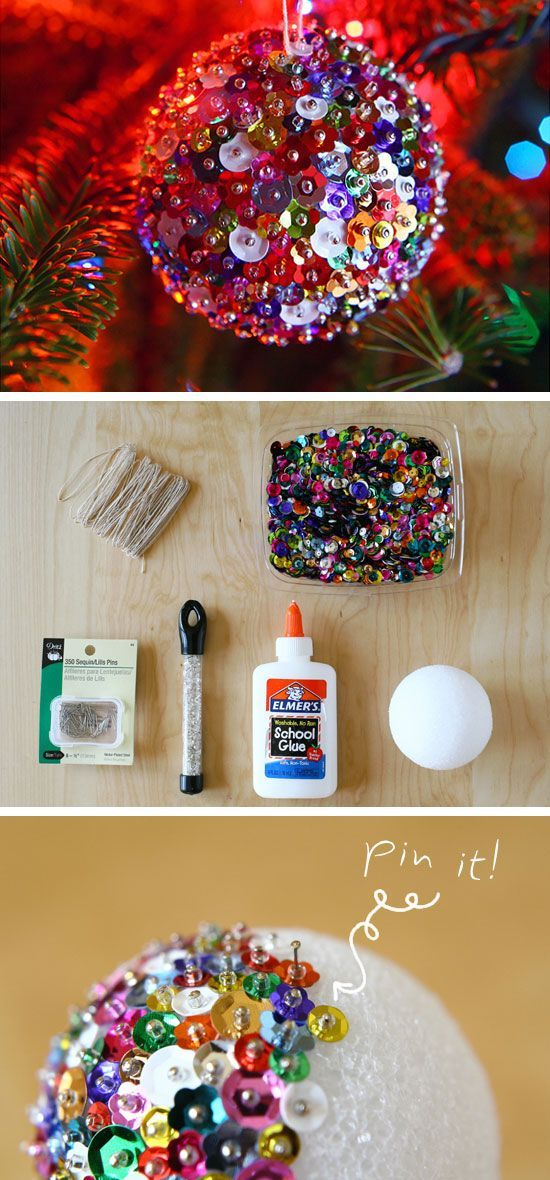 Colorful DIY Christmas Ornament made from sequins and beads pinned onto a foam ball - so colorful!