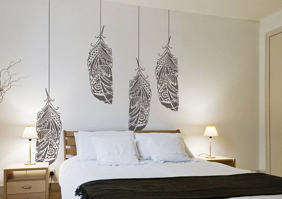 Forest Feathers Large Decorative Scandinavian Wall door StenCilit