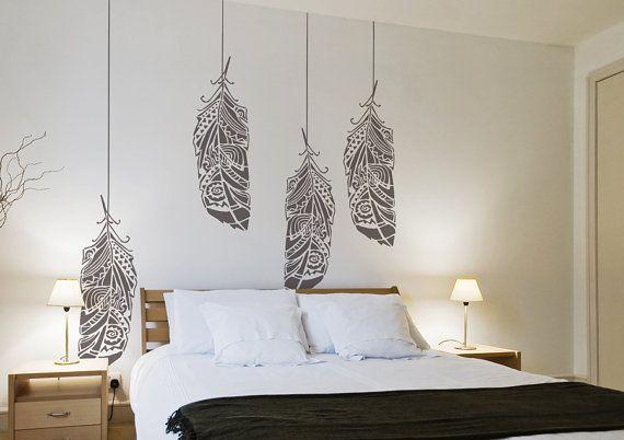Parete di foresta piume stencil stencil murale di StenCilit