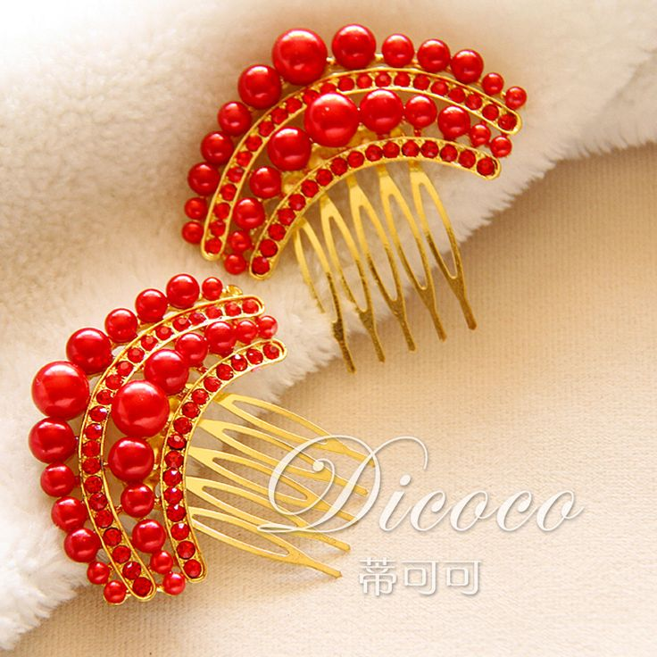 Bride red bridal hair comb pearls hair accessories inserted hair combs wedding headdress styling #Affiliate