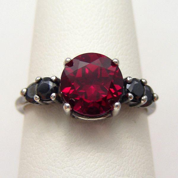 Black Silver Oxidized Blood Red Ruby...