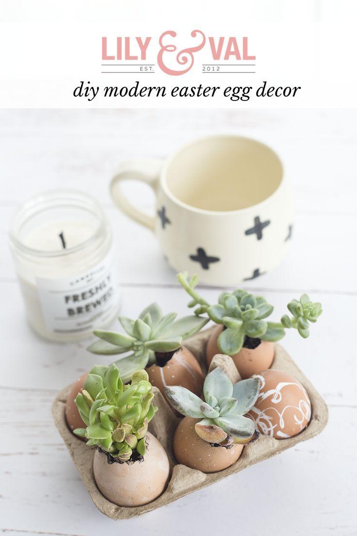 modern easter decor | diy easter decor | easter egg planters