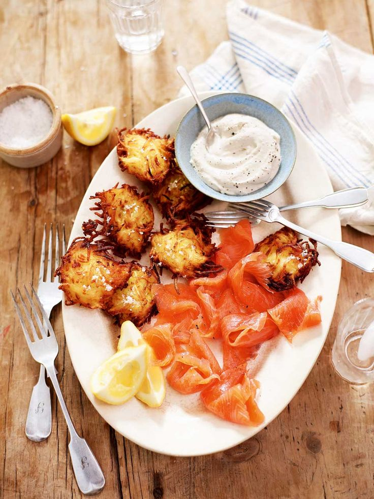 Crispy potato pancakes pair perfectly with creamy crème fraîche in this traditional Jewish dish.