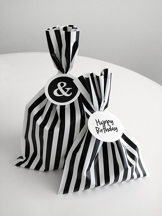 striped wrapping using paper bags - easier to recycle and great for small presents