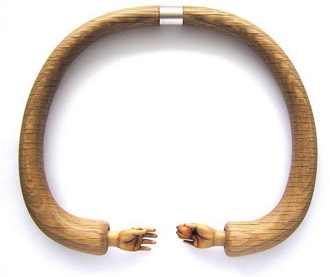Wooden Jewellery by Julia Harrison    Prufrock, 2006, oak, boxwood, gouache, wax, sterling, magnet