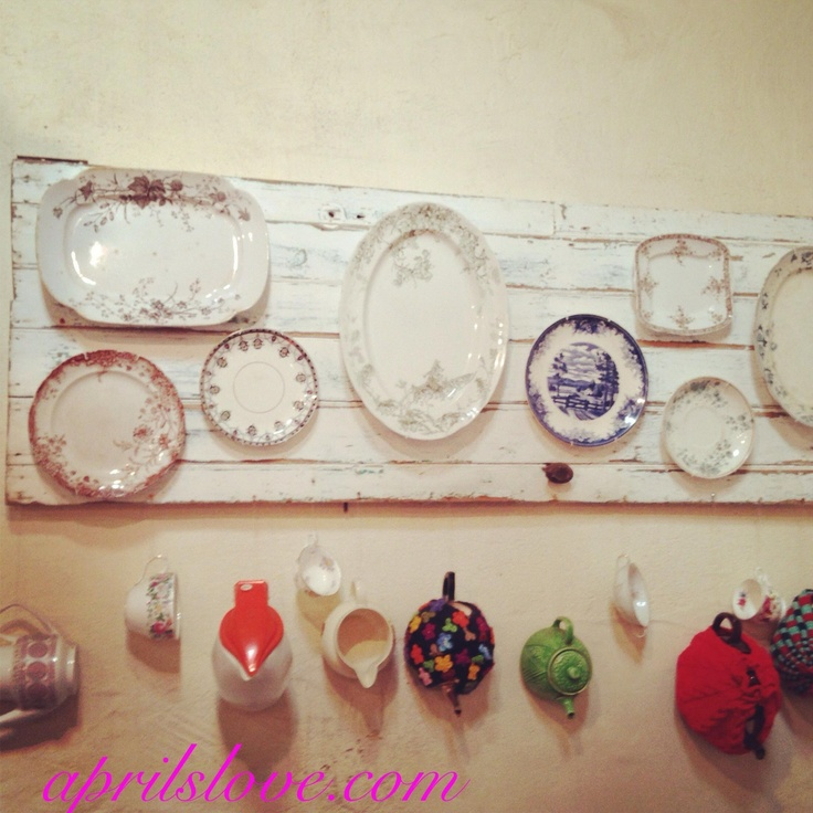 Decorative plates displayed on an old door & 21 best Plate Display Ideas images on Pinterest | Dish sets ...