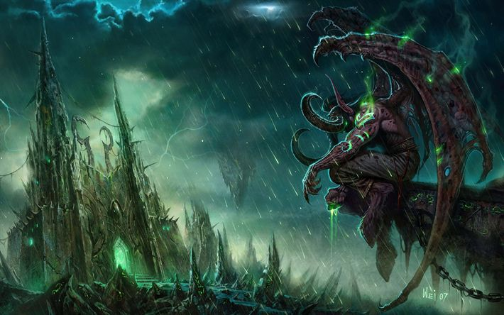 Download wallpapers Illidan, warrior, rain, World of Warcraft, monster, WoW