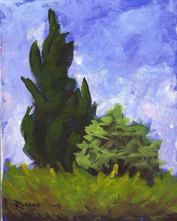 "Plein Air Study... Cedars... Original Daily Painting by Bernie Rosage Jr... 10x8""... $50.00"