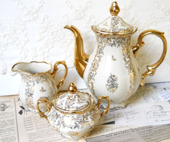 vintage teapot tea set teapot vintage floral coffeepot  teapot coffee set Mitterteich Bavaria porcelain on Etsy, $80.27