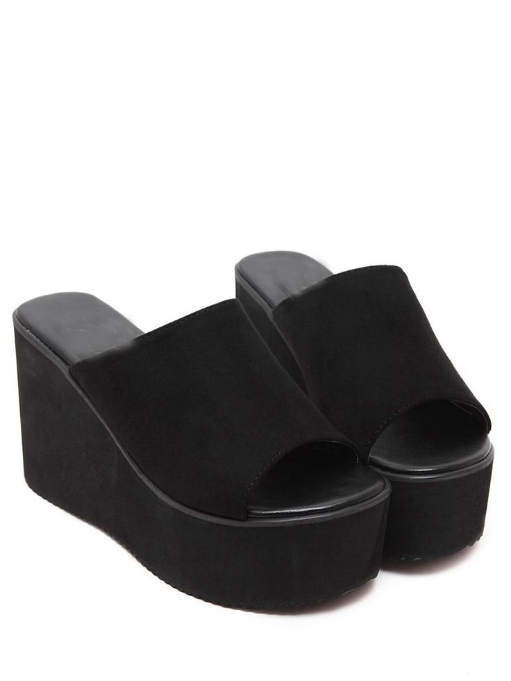 Shop Peep-Toe Faux Suede Mule Wedges online. SheIn offers Peep-Toe Faux Suede Mule Wedges & more to fit your fashionable needs.
