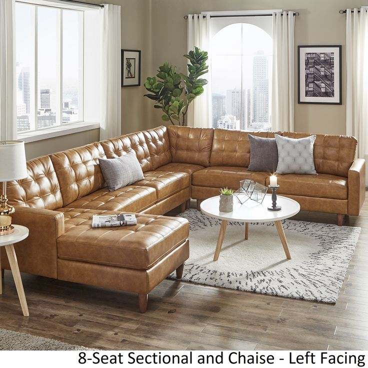 Best Odin Caramel Leather Gel L Shape Sectional With Chaise By 400 x 300
