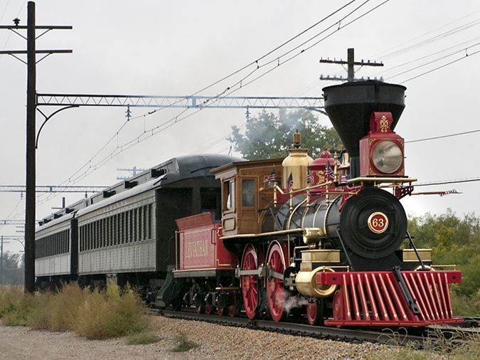 """The """"Leviathan"""" steam locomotive, a replica of the steam-powered """"Jupiter"""" of Central Pacific fame, pulling a passenger train at the Illinois Railway Museum on September 18, 2011. Chicago businessman David Kloke built the locomotive from 1999 to 2009 at a shop in West Chicago. It operated at the Illinois Railway Museum on select weekends in August and September 2011."""