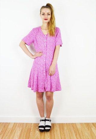Vintage+Pastel+Pink+Floral+Daisy+Print+Mini+Dress+