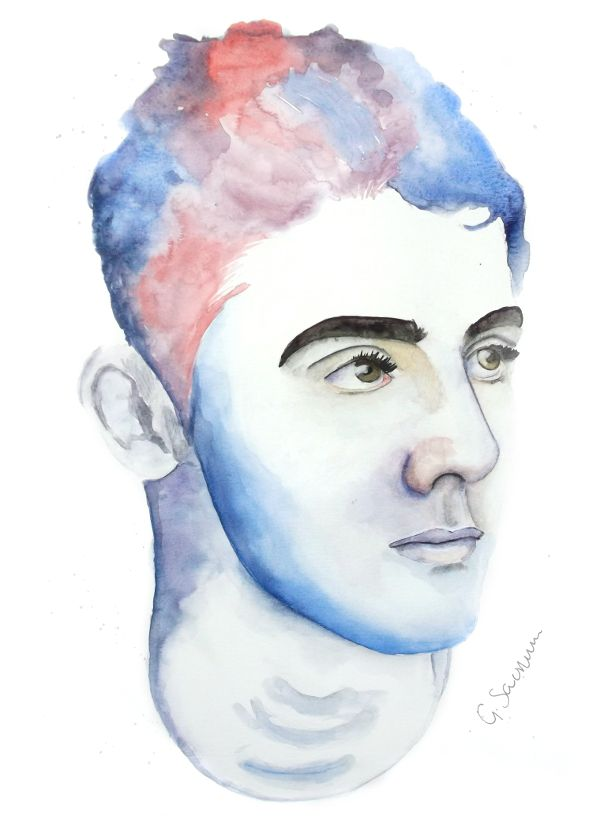 'Blue' portrait painting by Guinevere Saunders Artist Watercolor on Watercolor Paper 2014