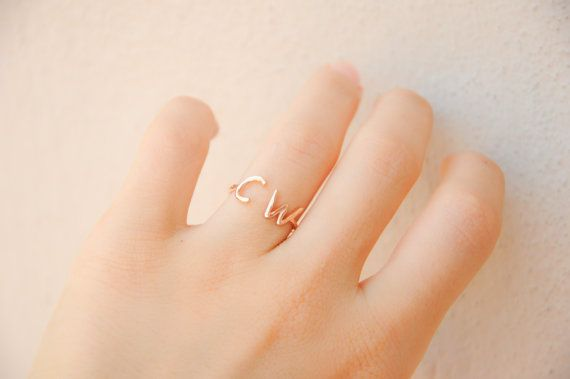 ~Rose Gold Initial Ring! Dainty gold ring with two initial! It can be a nice personalized gift or an everyday ring for yourself..  ~This lovely