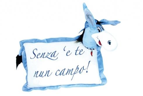 CIUCHINO PELUCHE SENZA E TE NON. Cuscino in peluche con asinello Forza Napoli con testa e coda in rilievo 3D-colori azzurro e bianco