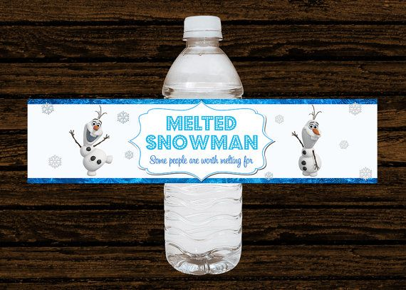 Custom Disney Frozen Party Water Bottle by WoodsDesignStudio, $11.25 - saw some friends planning Frozen parties. This is just too cute!!