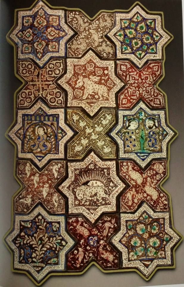Ilkhanid period tile work From Damghan, Iran, dated 1267 AD, dated in the Persian inscription on the rim. These tiles are now part of collections in various museums around the world. They were looted from Imamzadeh Jafar shrine in Damghan, the shrine itself is now void of any tiles. These tiles are in Louvre Museum.