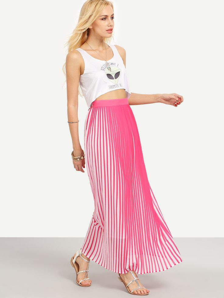 Shop Colored Vertical Stripe Long Skirt online. SheIn offers Colored Vertical Stripe Long Skirt & more to fit your fashionable needs.