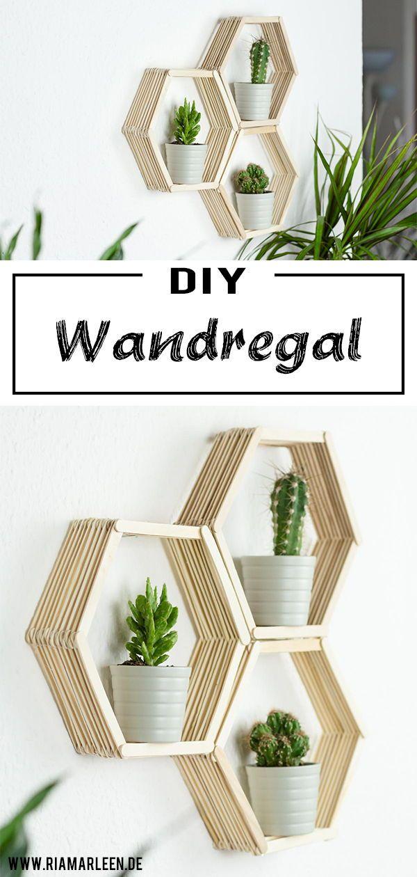DIY Waben Wandregal aus Eisstäbchen basteln DIY Deko Pinterest - deko wohnzimmer regal