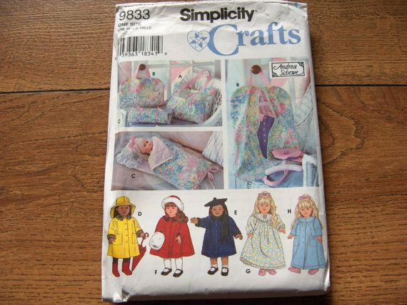 1996 simplicity pattern 9833 doll clothes 18 by GransTreasures, $10.00