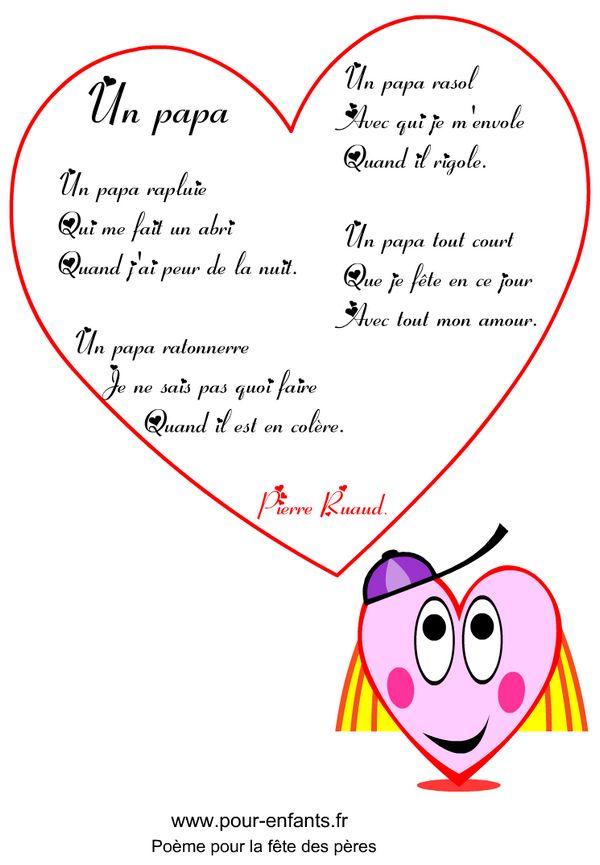 Fête des pères Un papa rapluie | Imprimer un poème en images pour la fête des pères poemes à imprimer avec coeurs fete des peres