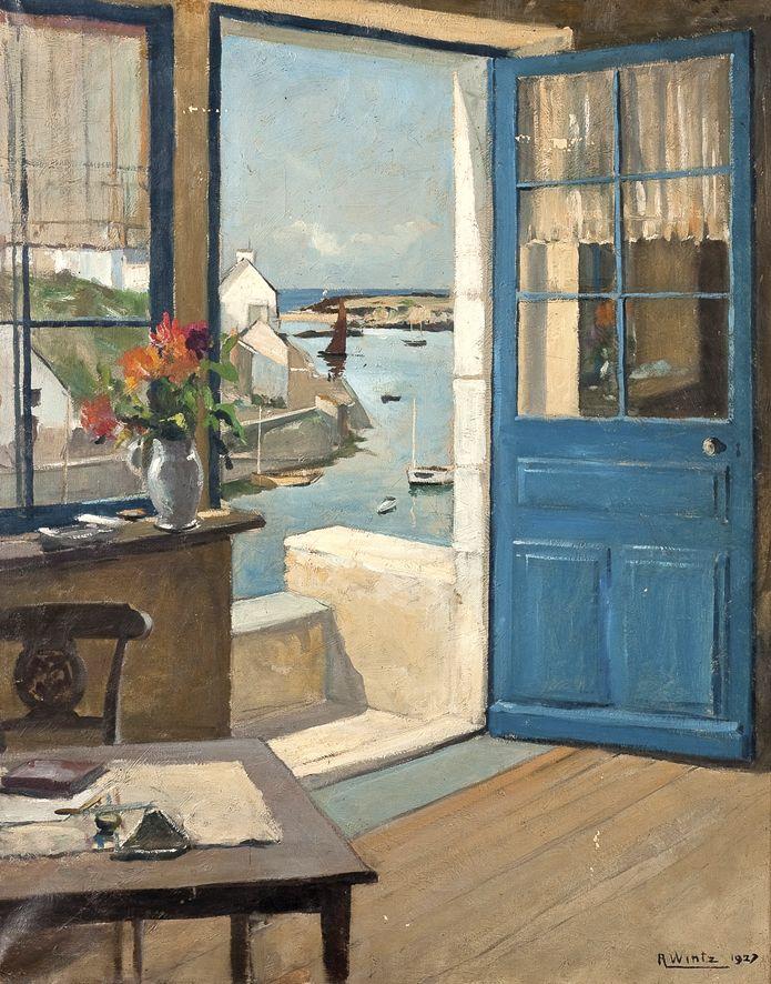 ◇ Artful Interiors ◇ paintings of beautiful rooms - Joseph Raimond Wintz   Vue sur le port Doélan, 1927