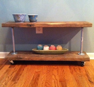 A rustic modern utility cart made from salvaged wood