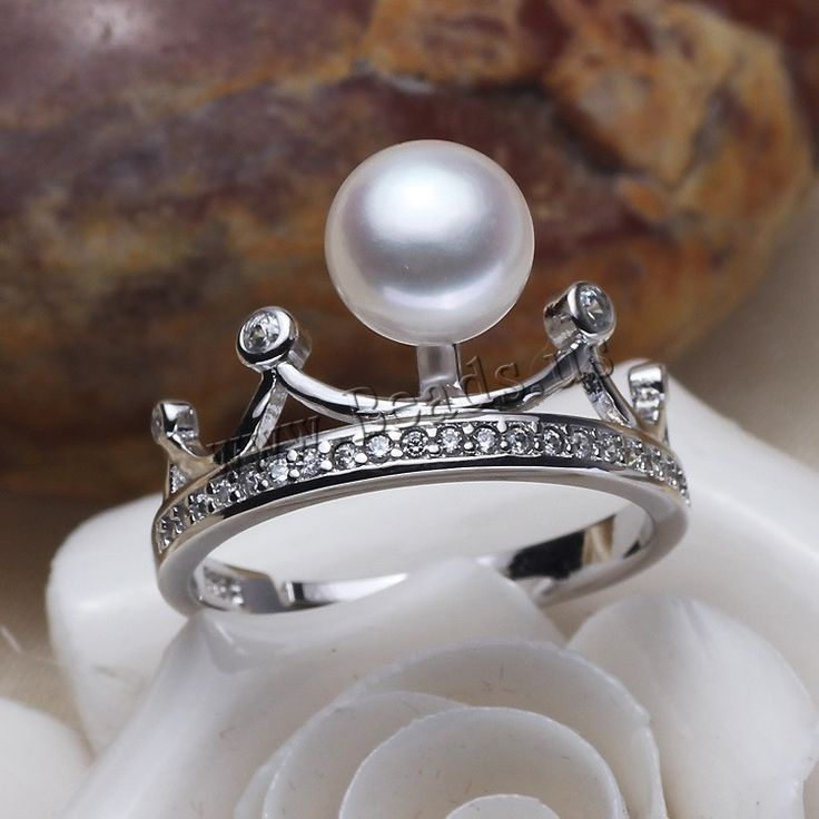 Freshwater Pearl Finger Ring, with Brass, Crown, silver color plated, natural & adjustable & micro pave cubic zirconia