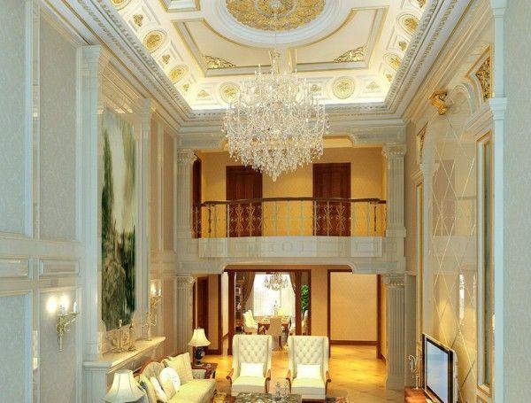 Luxurious Villa Qatar gorgeous marble columns, gold chandelier ceiling